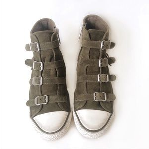 ASH LIMITED VIRGIN Suede High Top Olive Sneakers